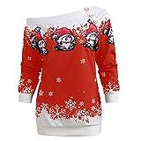 Bluestercool Sweats de Noël Femmes Hauts à Manches Longues Blouse Tops sans Bretelles Casual T-Shirts Sweat-Shirts, Noir, Rouge, Vert