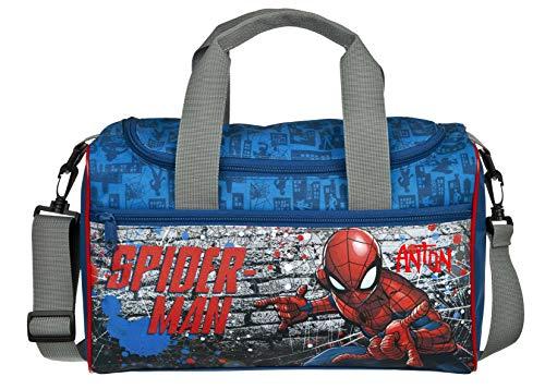Sporttasche mit Namen | inkl. NAMENSDRUCK | Motiv Spiderman blau schwarz rot | Personalisieren & Bedrucken in Wunschfarbe | Reisetasche Jungen Tragetasche Umhängetasche