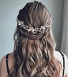 Unicra Peine para el pelo de novia de boda, accesorios para el pelo, flores de novia, para mujeres y niñas (dorado)