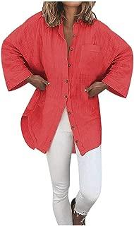 LEKODE Women T-Shirts Fashion Solid Lapel Long Sleeve Tops