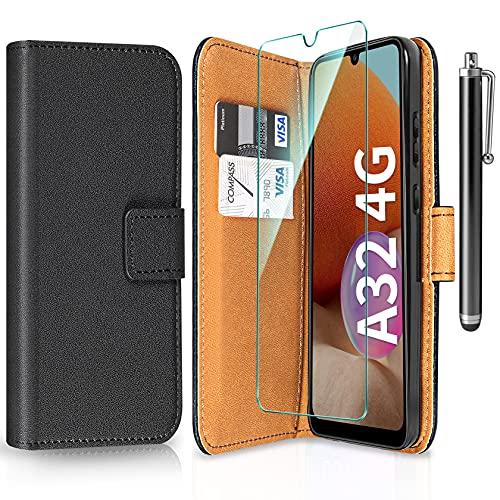 ivencase Cover Compatibile con Samsung Galaxy A32 4G con Pellicola Protettiva e Penna, Book Cover Custodia Flip Caso in PU Pelle Portafoglio Magnetica Porta Carta Cover - Nero