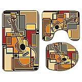 3Pcs Alfombra de baño antideslizante Juego de tapa de asiento de inodoro Música Suave antideslizante Alfombrilla de baño Funky Fractal Fondo de forma cuadrada geométrica con arte de figura de guitarra