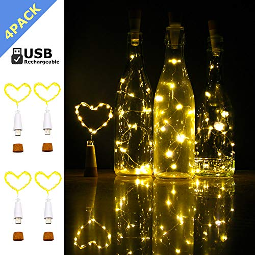 Wine Bottle Cork Lights, iMazer Rechargeable USB Powered Copper Wire String Starry LED Light for DIY,Party,Home Decor,Christmas,Wedding or Mood Lights Wine Bottle Decorations (Warm White 4 Pack)