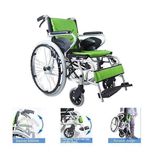 Tragbar Leicht Aluminiumlegierung Manueller Rollstuhl, Faltbar Fußpedal umdrehen Stehende Bremse Rollstuhl, Erwachsene Deaktiviert Beinauflage