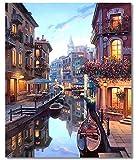Tenwind Pintar por Numeros Adultos Sin Marco - DIY Conjunto Completo de Pinturas Surtidas Pintura al óleo Kit Decoraciones para el Hogar Ciudad de Agua 16*20 Pulgadas