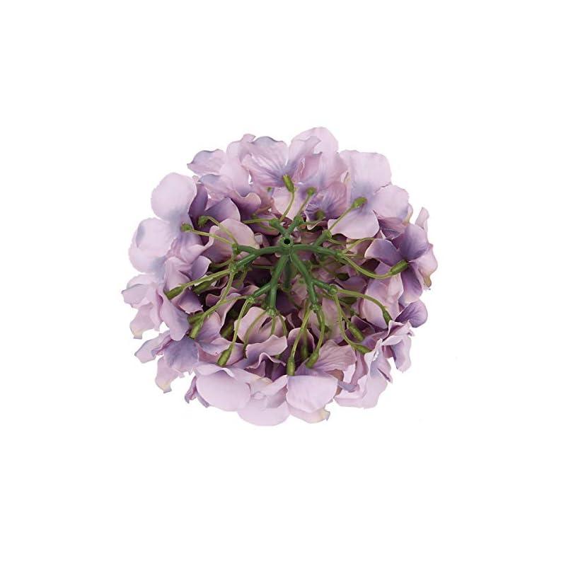 silk flower arrangements flojery silk hydrangea heads artificial flowers heads with stems for home wedding decor,pack of 10 (dream purple)