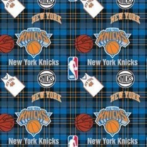 Fleece New York Knicks Plaid NBA Basketball Sports Team Fleece Fabric Print by The Yard (A609.27)