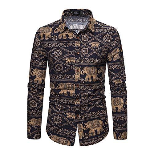 FZYQY Camisa Casual con Estampado Funky para Hombres Elegante diseño Floral Unico Algodón Regular Fit Camisas de Manga Larga para Hombres Traje/A/XXXL