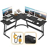 CubiCubi Modern L-Shaped Desk Computer Corner Desk, 59.1' Home Office Writing Study Workstation with Small Table, Space Saving, Easy to Assemble, Black