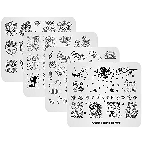 KADS 4pcs Stamping Plates Set Animal Plum Flower Mermaid Guitar Panda Pattern Fashion Manicure Template Nail Art Image Stamp Nail Design Tools