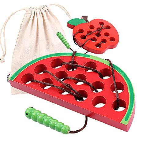 Fädelspiel 2 STK. Holz Wassermelone und Maus Motorikspielzeug für Kinder ab 3 Jahre, Montessori Spielzeug zum Sortieren