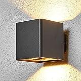 Lucande LED Wandleuchte außen 'Aaron' (spritzwassergeschützt) (Modern) in Schwarz aus Aluminium (2 flammig, A+, inkl. Leuchtmittel) - LED-Außenwandleuchten Wandlampe, Led Außenlampe, Outdoor Wandlampe