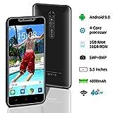 "Teléfono Móvil Libres, Smartphone Dual SIM, Teléfono 1GB RAM+16GB/SD 128GB, 5MP+8MP, Pantalla de 5.5"" HD+, Android 9.0, GPS, WiFi, 4800mAh Batería [Clase de eficiencia energética A+++] - Negro"