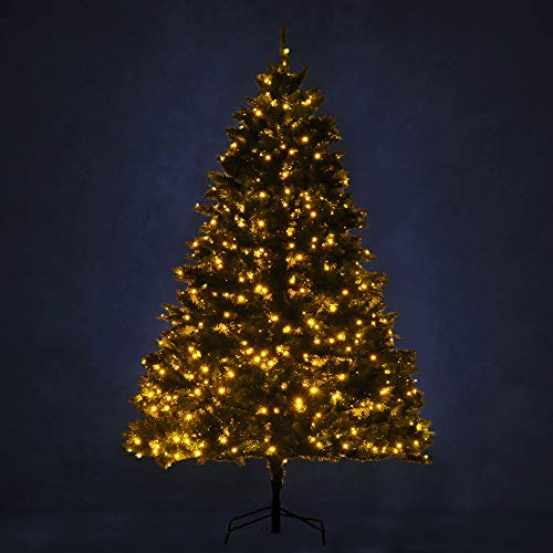 HOMCOM Sapin de Noël Artificiel Lumineux LED x 650 Blanc Chaud + Support Pied Ø 127 x 200H cm 1880 Branches Vert