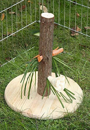Kerbl Futterbaum Nature für Nagetiere / Kaninchen (Abwechslung, Spielzeug für Nager, Höhe 30 cm, Futterspender aus Holz, Knabberbaum mit Bodenplatte) 84408