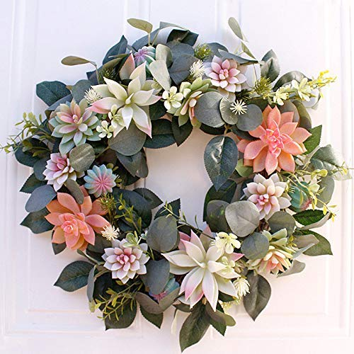 YXZQ Artificial Succulent Wreath Door Spring Artificial Floral Wreath with Knotted Bow for Front Door, Wedding, Home and Office Christmas Wreath for Door and Wall Decor