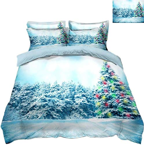 Matasuer Bedding Brushed Microfibre Duvet Cover - Creative Colorful Christmas Tree Plant Snowflake - Single (135 X 200 Cm) Soft Hypoallergenic Bedding Gift For Teens Girls