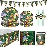 Amycute 12 Invitados Juego de Vajilla Diseño Animal, Set de Cubiertos de Fiesta de Cumpleaños Infantil con Platos Vasos Servilletas Pajas para Fiesta de Cumpleaños Niños Baby Shower
