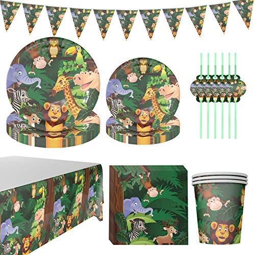 DreamJing Lieblings-Wald - Vajilla de cartón para niños (48 unidades, 24 platos, 12 vasos, 12 pajitas para 12 personas), diseño de selva