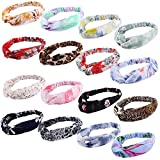 16 Pcs Boho Headbands Knotted Elastic Head Wraps Flower Print Elastic Accessories Cute Criss Cross Hair Bands for Women and Girls