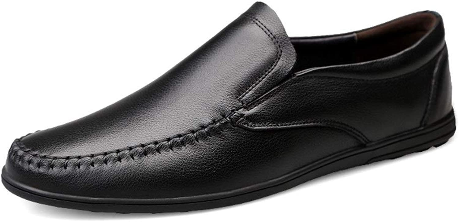 Easy Go Shopping Driving Loafers For Men Round Toe Oxfords Leisure Flat Penny shoes Leather Upper Slip On Stitch Walking Boat shoes Lightweight Cricket shoes (color   Black, Size   8.5 UK)