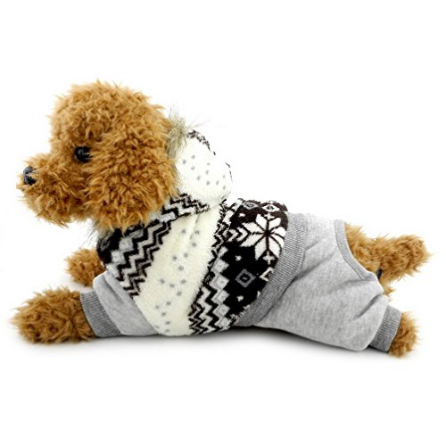 SELMAI Snowflake Hooded Velvet Small Dog Cat Jumpsuit Fleece Warm Winter Pet Puppy Snowsuit Windproof Outfits Clothes Apparel Brown M