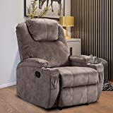 Bonzy Home Overstuffed Recliner, Fabric Recliner Chair with 2 Cup Holders, Camel