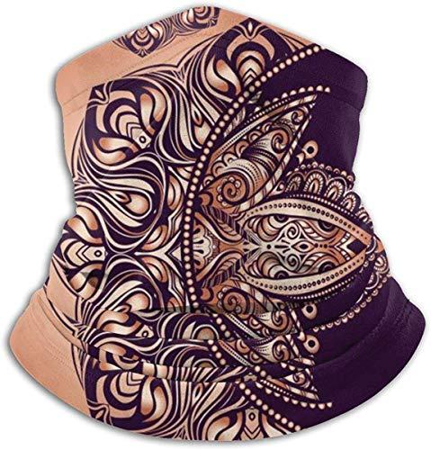 Boho Chic tattoo-design. Golden Crescent Moon and Sun met elementen van The Mandala - Astrology Unisex Winter Fleece Neck Warmer Gaiters Haarband Cold Weather Tube Face Mask Thermal Neck Scarf Outdoor