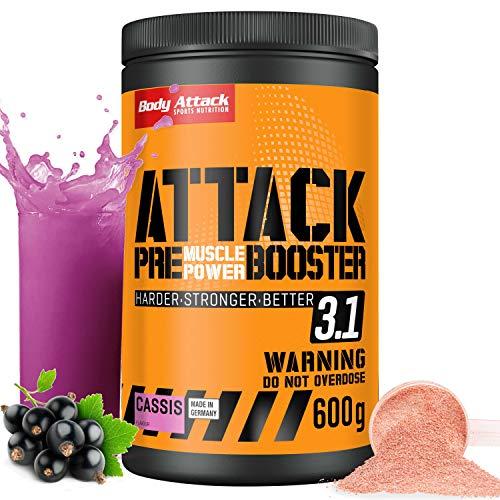 Body Attack Pre Workout Booster – Extrem hochdosierter Workout-Booster für alle Sportler & Athleten – speziell entwickelt für Bodybuilding, Kraftsport und Fitness (Johannisbeer-Cassis)