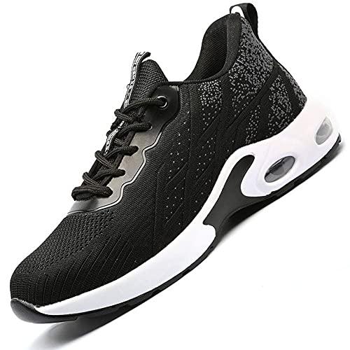 Zapatos de Seguridad con Punta de Acero para Hombre Mujer - Cómodos Ligeros y Transpirables (Gris 708,Taille 44)