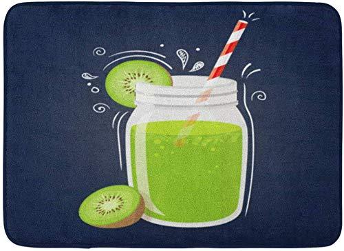 ECNM56B Fußmatten Bad Teppiche Fußmatte grün Detox Kiwi Smoothie gesundes Getränk Obst auf blauem Aquarell Shake Getränk 15,8