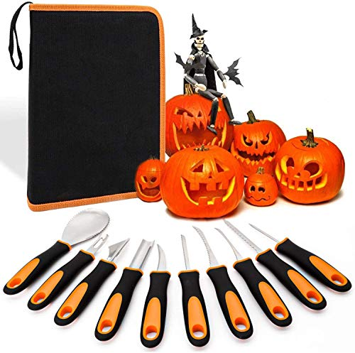 Kürbis Schnitzset,Premium 10 Piece Pumpkin Carving Kit for Halloween,Professional Stainless Steel Pumpkin Carving Tools Set für DIY Halloween Crafts for Kids and Adults