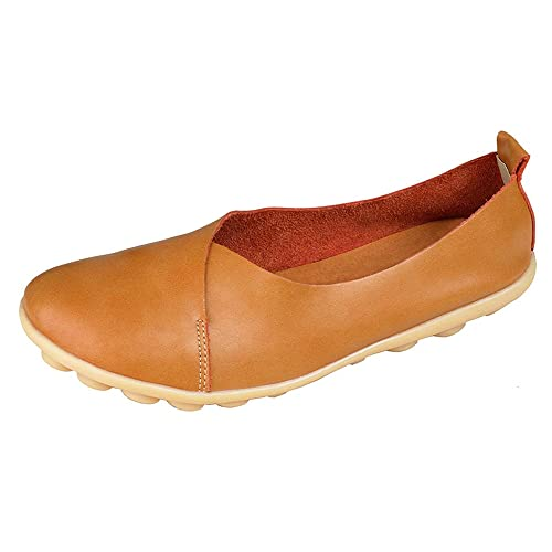 b5440e4bd08 PhiFA Women s Leather Casual Loafers Flat Shoes Slip-Ons