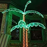 GFQHF Waterproof Decoration Lighted Artificial Tree for Patio Garden, Palm Tree Lights Includes Mounting Accessories (7ft)
