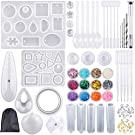 Augshy 98 Pieces Silicone Casting Resin Jewelry Molds and Tools Set with a Black Storage Bag for DIY Jewelry Craft Making
