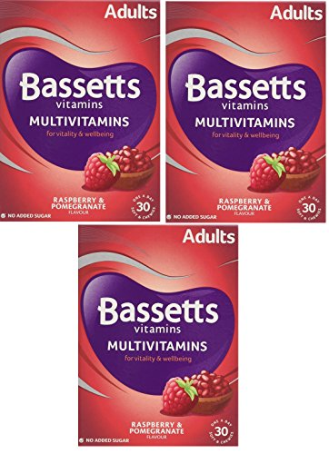 3 X Bassetts Raspberry and Pomegranate Adult Multivitamin Chewies - Pack of 30