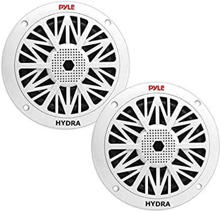 $29 » 6.5 Inch Dual Marine Speakers - 2 Way Waterproof and Weather Resistant Outdoor Audio Stereo Sound System with 200 Watt Power, Poly Carbon Cone and Butyl Rubber Surround - 1 Pair - PLMR62 (White)