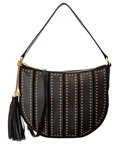 """Suede, leather; lining: polyester Exterior features brushed gold-tone hardware, grommet detail and tassel accent Interior features lining, 1 zip pocket, 3 open pockets, 1 cellphone pocket and key clip 9""""L single handle; 23""""L adjustable strap 12""""W x 9..."""
