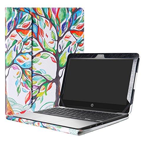 Alapmk Diseñado Especialmente La Funda Protectora de Cuero de PU para 11.6' HP Chromebook 11 G5 EE / G4 / G3 / G2 / G4 EE / 11-2000 Series Ordenador portátil,Love Tree