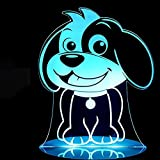 3D Dog Night Light Touch Switch Decoration Table Desk Optical Illusion Lamps 7 Color Changing Lights LED Table Lamp Xmas Christmas Home Love Birthday Children Kids Decor Toy Gift