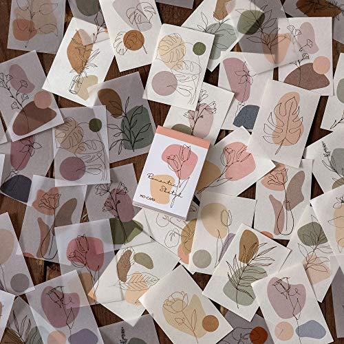 BLOUR Juego de Pegatinas de Papel Vintage de 80 Piezas, Etiqueta Decorativa DIY de Seta Floral de Planta Natural para álbum de Recortes, planificador, Diario, Diario