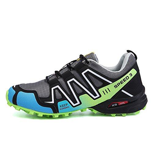 Padgene Men's Hiking Shoes Non Slip Outdoor Lace up Climbing Trail Running Shoes (8.5 D(M) US/42EU, Grey+Green)