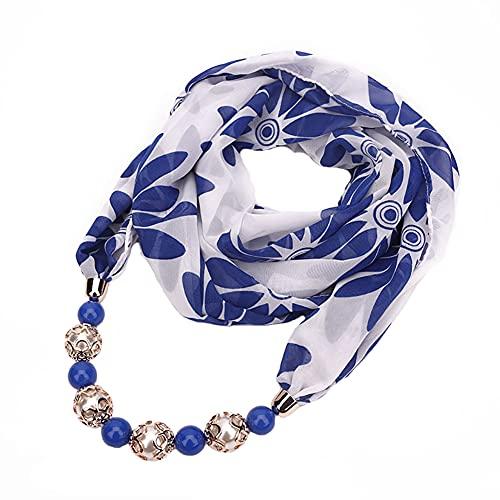 Gespout Collar Mujer Barato Colgante con cuentas de moda para mujer Bufanda de chifón estampada en color Accesorios de vestir para cualquier temporada
