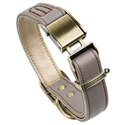 chede Klassisches Luxus-Hundehalsband aus Leder, mit Sicherheitsgurtschnalle, für große und mittelgroße Haustiere (XL, Khaki)