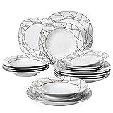 VEWEET Serena Juegos de Vajillas 18 Piezas de Porcelana con 6 Platos, 6 Platos Hondos y 6 Platos de Postre para 6 Personas