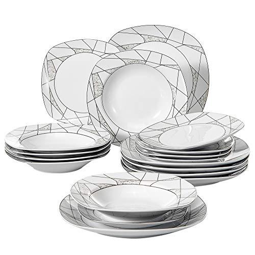 VEWEET Serena Juegos de Vajillas 18 Piezas de Porcelana con 6 Platos,...