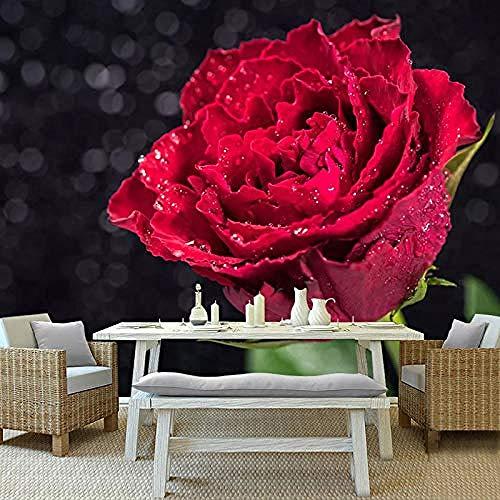 Aangepaste 3D-fotobehang romantisch rode roos bloem muurschildering woonkamer slaapkamer achtergrond wanddecoratie behang wandpapier fotobehang 3d effect behang behang woud vintage 430 cm × 300 cm.