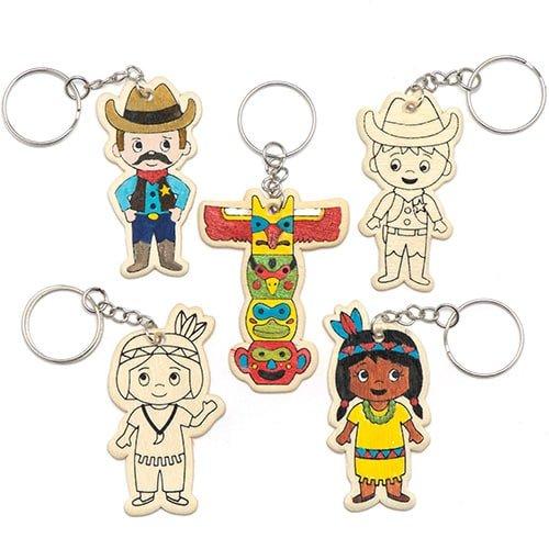 """Schlüsselringe aus Holz zum Ausmalen """"Wilder Westen"""" für Kinder zum Basteln und Dekorieren – Bastelset für Kinder (6 Stück)"""