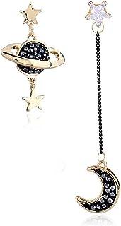 Pu Ran Orecchini a perno asimmetrici con pendenti a forma di stella e luna, con pietre sintetiche, idea regalo, gioiello p...