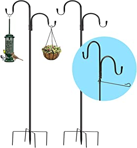 Shepherds Hook, 78 inch 5/8 Width Heavy Duty Adjustable Outdoor Shepherd Hooks with 5-Prong Base, Double Hook, Flag Stand Holder, Garden Hanging Stake for Bird Feeder Solar Light Plant Hanger(2 Pack)